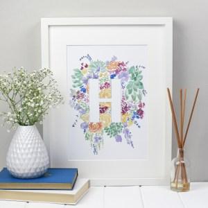 Floral Alphabet Letter Print - Zoeprose