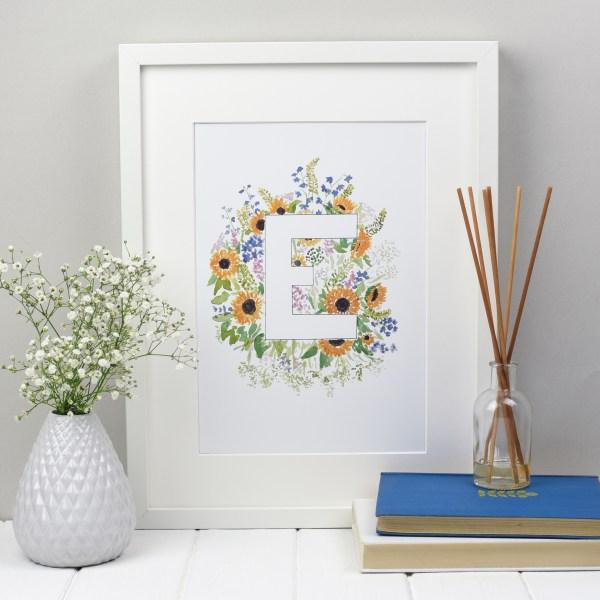 Floral Alphabet Letter Print