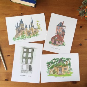Harry Potter places print set , hogwarts print, grimmauld place print, Hagrid's hut print, the burrow print