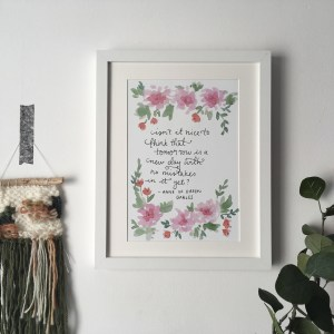 Anne of Green Gables new day quote print
