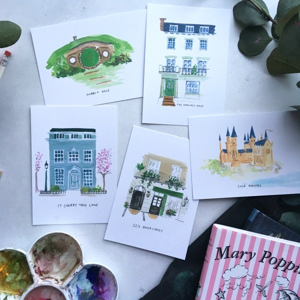 literary houses postcard set from Zoeprose
