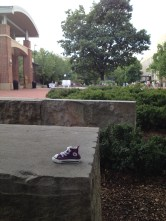 Mr. Shoe in front of the HUB