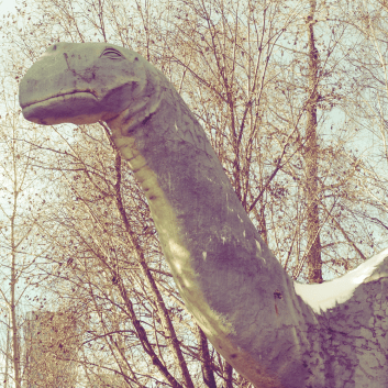Dinny the Brontosaurus (ca. 1935) at the Calgary Zoo. He was from the old-old prehistoric park and is now an Alberta heritage resource. The zoo is upgrading its prehistoric park right now.
