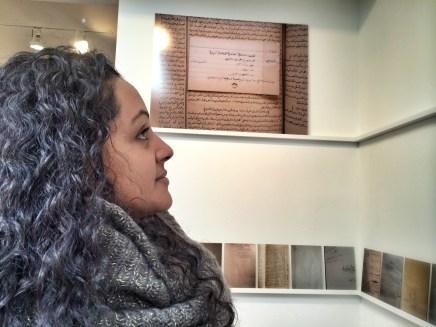 Angelique, student, at Emily Jacir Exhibit.
