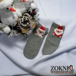 mikulásos gyerek zokni-mikulás-szürke