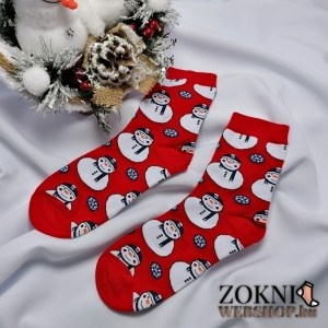 Mikulásos női zokni SN6667 hóember piros