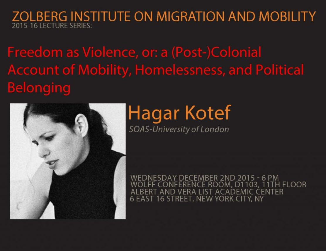 POSTER hagar lecture WOLFF ROOM