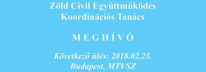 Meghívó aZöld Civil Koordinációs Tanács ülésre