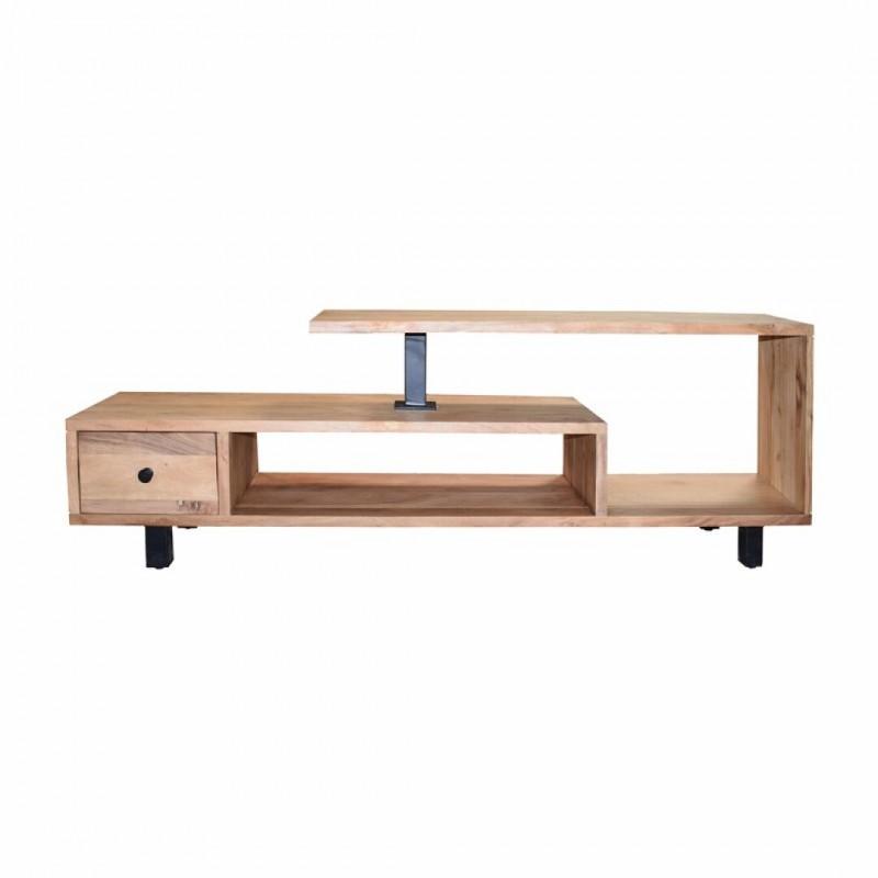 mundo meuble tv en bois acacia l 170 cm