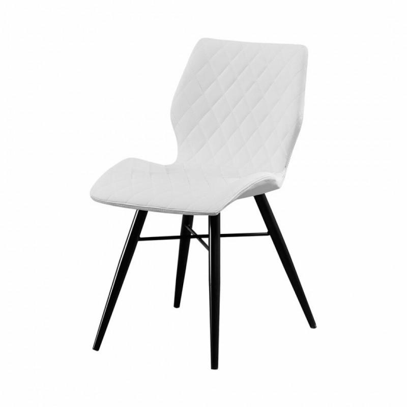 chaise de salle a manger capitonnee et pieds metal noir couleur blanc collection dom