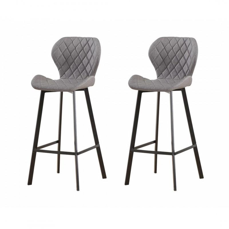 set of 2 dom tabourets bar chaise haute matelassee differents coloris et pieds metal noir taupe dom