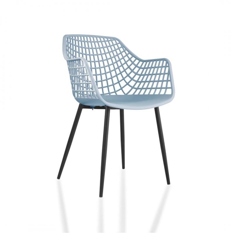 chaise tango pour salle a manger ou cuisine au design retro avec accoudoirs coque en plastique et 4 pieds metal noir couleur gris