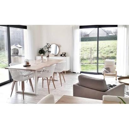 table a manger 6personnes naturel bois chene massif 160cm pieds blanc
