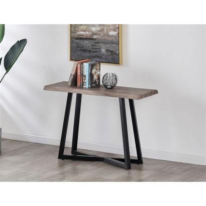 console avec pieds metal et plateau en bois gris