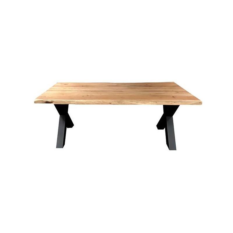 table a manger pieds x en bois chene massif epaisseur 4cm dimensions 300x100cm