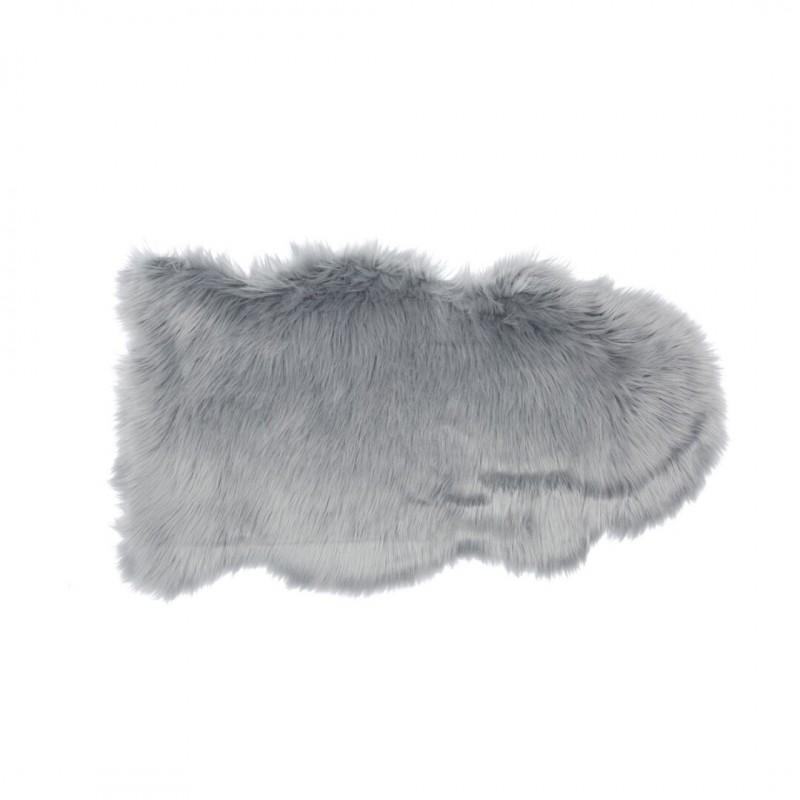 tapis fourrure shaggy 50x90cm peau de bete couleur gris