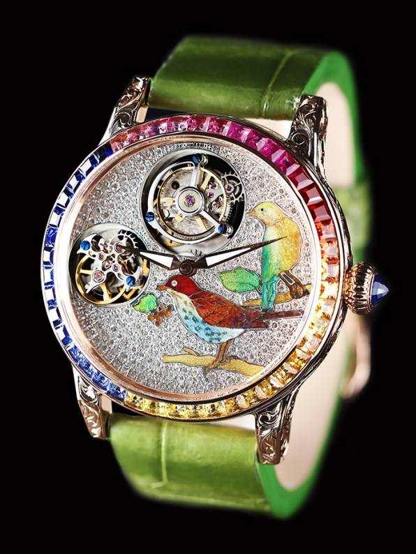 Double Tourbillon Watch with hand-crafted features in enamel and saphir