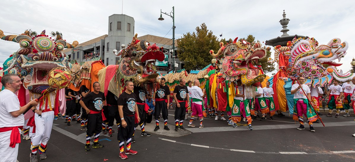 Bendigo's four dragons - Yar Loong, Loong, Sun Loong and Dai Gum Loong - parade together for the first time.