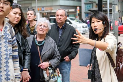 Virginia Chan leading the tours. Image courtesy Humid with a Chance of Fishballs.