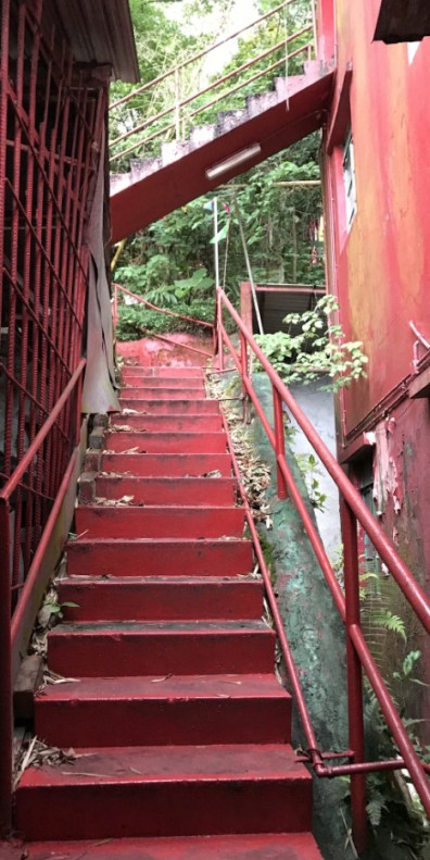 The narrow staircase that leads to the upper levels of the To Yuen Tong Temple in Mui Wo