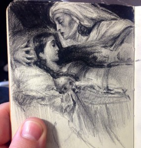 A Drawing Master copy I did infront of the Painting. At the art gallery of South Australia.