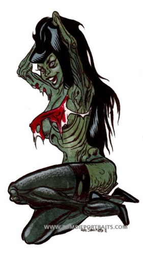 betty Page Zombie pin up