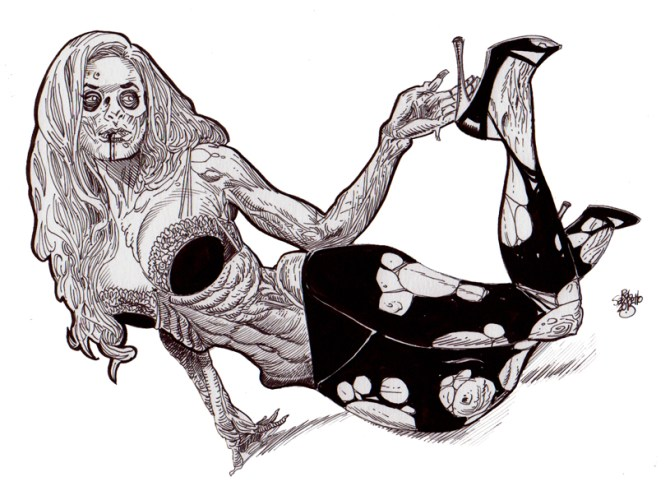 Zombie Art : Zombie Pinup Diva #158 Black Bra, Stockings, Heels - Zombie Art by Rob Sacchetto