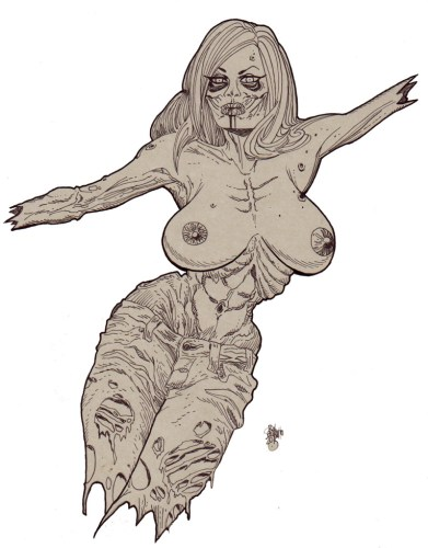 Zombie Art : Zombie Pinup Diva #161 Topless Venus in Jeans