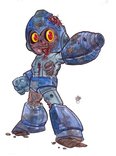 Zombie Art Mega Man Zombie from the Video Game Characters of the Living Dead Series
