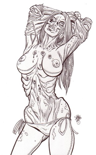 Zombie Pinup Diva #170 : More Bare Breasted Zombie Babes! - Zombie Art