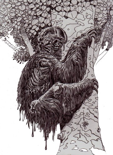 Zombie Art : Zombie Three Toed Sloth Zombie Art by Rob Sacchetto