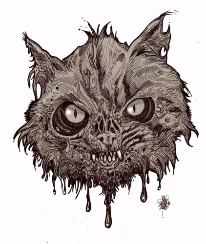 Zombie Art : Zombie Cat Head #1 Zombie Art by Rob Sacchetto