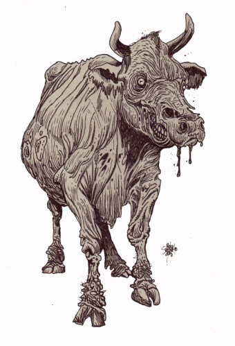 Zombie Art : Zombie Cow Zombie Art by Rob acchetto