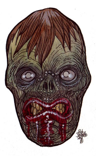 Zombie Art Mad Man Zombie Head Zombie Art by Rob Sacchetto