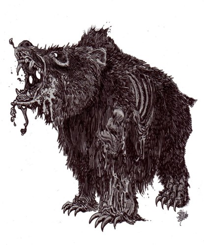 Zombie Art : Zombie Grizzly Bear Zombie Art by Rob Sacchetto