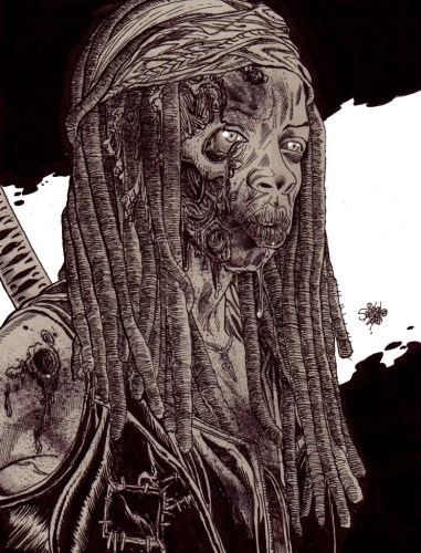 Zombie Art : Michonne Zombie Portrait TWD Zombie Art by Rob Sacchetto