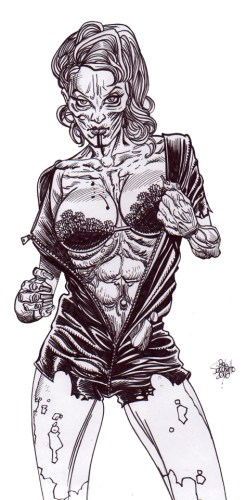Zombie Art : Zombie Pinup Diva #223 Zombie Art by Rob Sacchetto