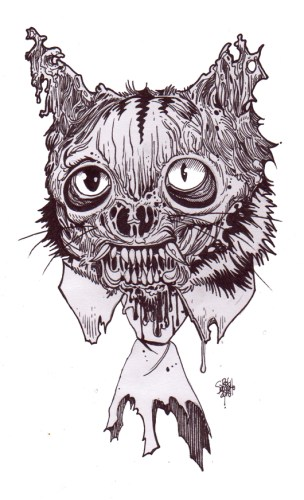 Zombie Art : Cat Head Zombie #12 Zombie Art by Rob Sacchetto