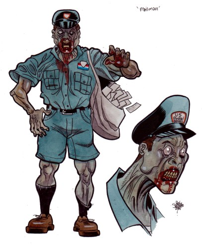 Zombie Art : Mailman Zombie Design Zombie Art by Rob Sacchetto