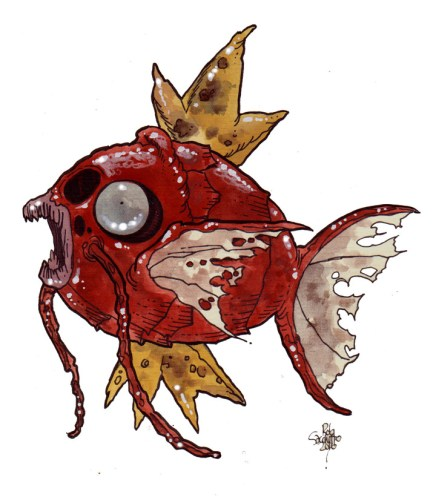 Zombie Art : Majikarp Pokemon Zombie Art by Rob Sacchetto