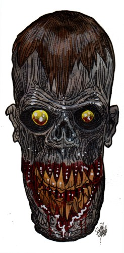 Zombie Art : Elongated Skull Zombie Art by Rob Sacchetto