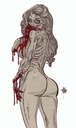 Zombie Art : Pinup #256 Blood and Buns Zombie Art by Rob Sacchetto