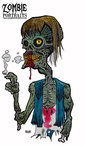 Zombie Art : Pot Smokin' Zombie Zombie Art by Rob Sacchetto