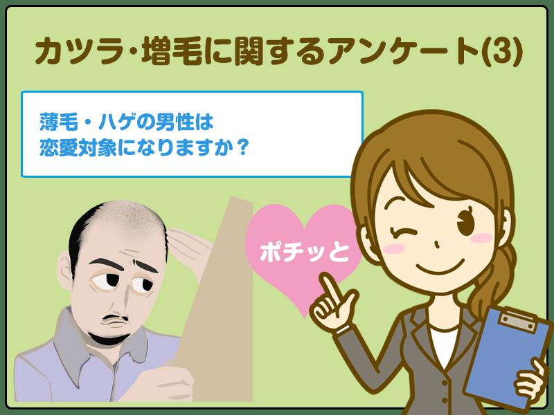 薄毛・ハゲの男性は恋愛対象になりますか?カツラ・増毛に関するアンケート(3)