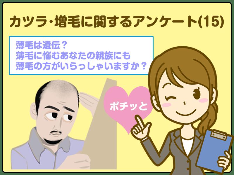 「薄毛に悩むあなたの親族にも薄毛の方がいらっしゃいますか?」カツラ・増毛に関するアンケート(15)