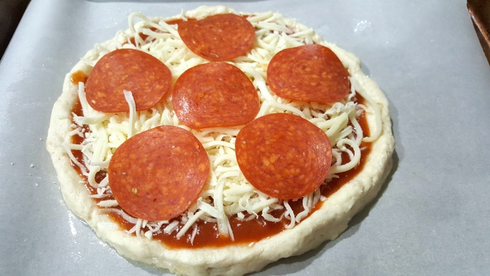 No Yeast Pizza Dough for One Recipe - add your favorite toppings
