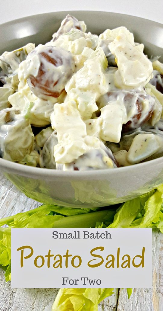Small Batch Potato Salad for Two - Here is a creamy, cool, refreshing, and easy small batch recipe for potato salad that is downsized to feed just two people, or one if you are really hungry! I love the flavor of the bacon, potatoes, egg, diced pickle, onion, and celery smothered in a simple dressing of mayo, seasoned salt, and pepper.