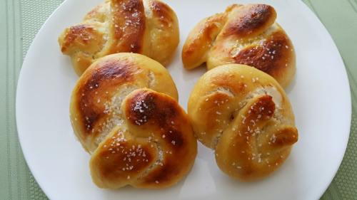 Soft Pretzels for Two on a plate with coarse salt