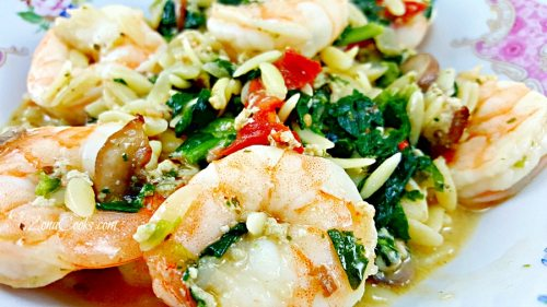 Garlic Orzo Tuscan Shrimp - romantic dinner for two