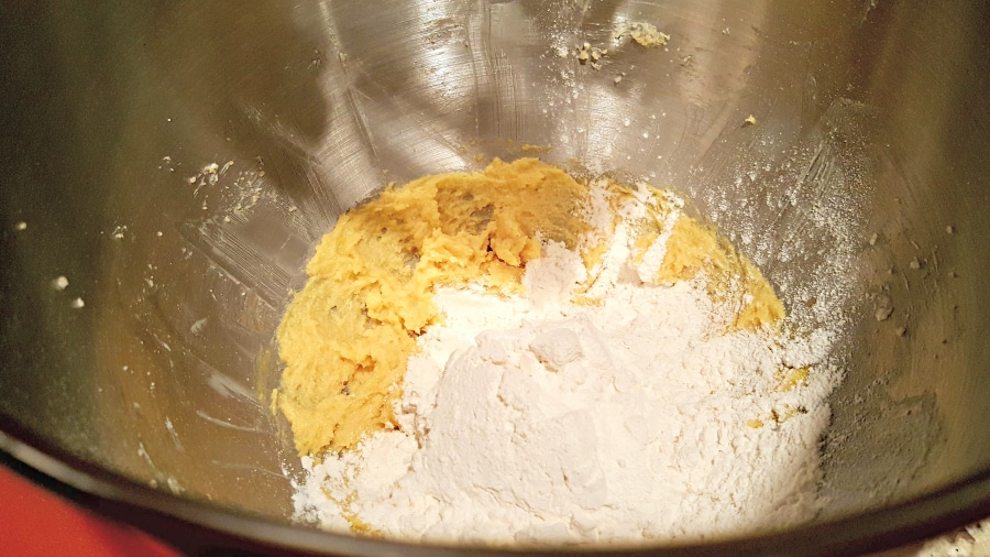 themixing in the flour, baking soda and salt